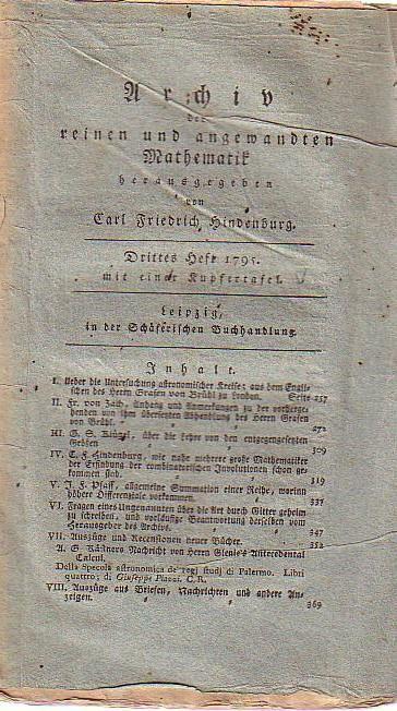 Archiv der reinen und angewandten Mathematik. 3. Heft 1795.