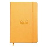 Rhodia 118768c - Carnet Rigide Webnotebook Orange - A5 - Pointillés Dot - 192 pages - Papier Clairefontaine Ivoire 90 g/m² - Marque-Page, Fermeture Élastique - Couverture Simili Cuir