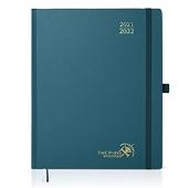 POPRUN Agenda 2021 2022 Semainier 26,5 x 21,5 cm - Agenda Scolaire d'Août 2021 à Août 2022 avec Intervalle Horaire, Pages de Notes et d'adresses, Poches, Couverture Rigide   Vert Pacifique