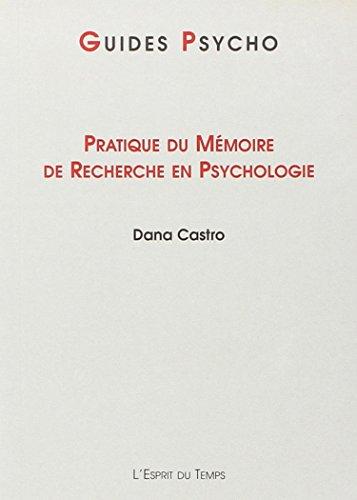 Pratique du mémoire de recherche en psychologie