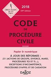 Code de procédure civile 2018, annoté - 109e Éd. de **