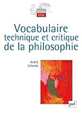 Vocabulaire technique et critique de la philosophie d'André Lalande