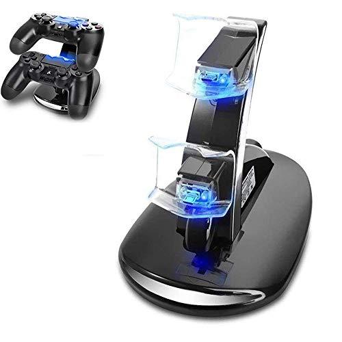 PS4 Dual Controller Caricatore, Tecnugiz Stazione di Ricarica per PS4, Dual USB Supporto di Carico del Caricatore per Playstation 4 PS4 / PS4 Pro / PS4 Slim Wireless Controller