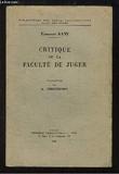 Critique de la Faculté de Juger. - VRIN J.