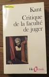 Critique de la faculté de juger de Emmanuel Kant (1989) Poche