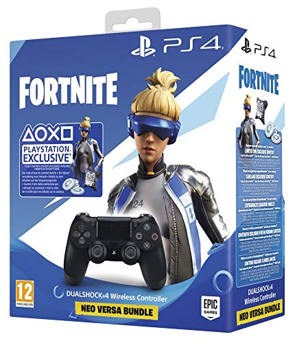Sony Manette PlayStation 4 officielle, DUALSHOCK 4, Skin Neo Versa + 500 V-Bucks Fortnite, Sans fil, Batterie rechargeable, Bluetooth, Noire