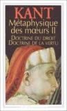 Doctrine du droit. Doctrine de la vertu - Flammarion - 04/01/1999