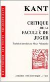 Critique de la faculté de juger - Vrin - 03/05/2000