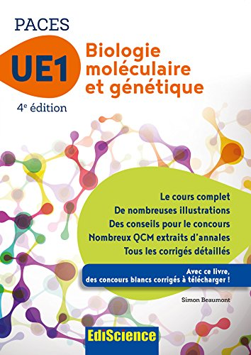 Biologie moléculaire-Génétique UE1 PACES - 4e éd. (1 - UE1) - Format Kindle - 9782100751624 - 13,99 €