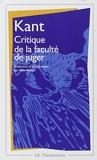 Critique de la faculté de juger by Emmanuel Kant (2000-01-17) - Flammarion - 17/01/2000
