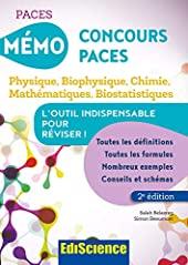 Mémo concours PACES - Physique, Biophysique, Chimie, Mathématiques, Biostatistiques de Salah Belazreg