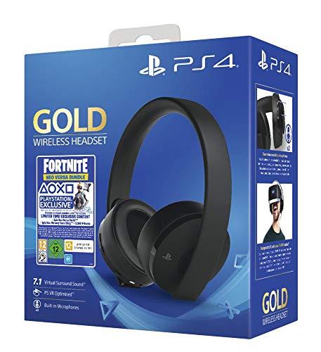 PlayStation Casque-micro sans fil PS4, Avec voucher Fortnite, Audio 3D, Édition Gold, Noir