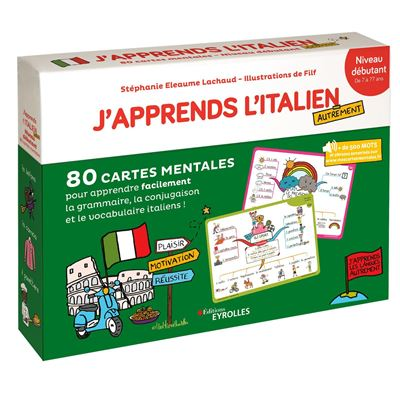 J'apprends l'italien autrement - niveau débutant - 80 cartes mentales pour apprendre facilement la grammaire, la conjugaison et le vocabulaire italiens !
